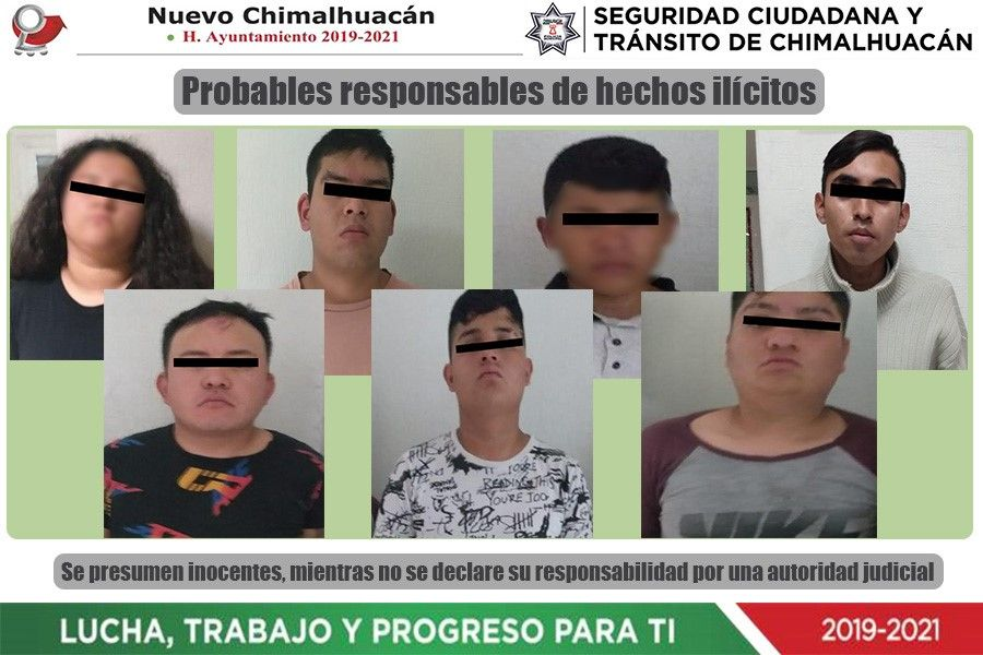 Policía local captura a siete por robo