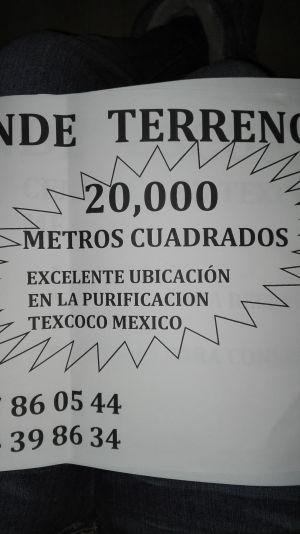 OFERTON!!!!! VENDO TERRENO EN LA PURIFICACIÓN TEXCOCO, ESTADO DE MÉXICO. URGE!!! BARATISIMO SON 20,000 METROS CUADRADOS CON EXCELENTE UBICACIÓN. VENDO TODO DE PREFERENCIA, NO FRACCIONES. URGE!!!!! INF. ING. ROLDÁN CEL 5527860544 CEL 5524398634 COMUNICATE URGE......