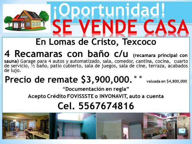 SE VENDE CASA EN LOMAS DE CRISTO, TEXCOCO. CEL 5567674816 TODA LA INFORMACIÓN EN LA IMAGEN