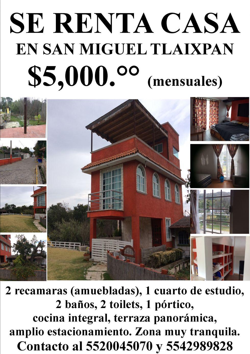 Se renta en casa en san miguel tlaixpan texcoco por for Anuncios de renta de cuartos