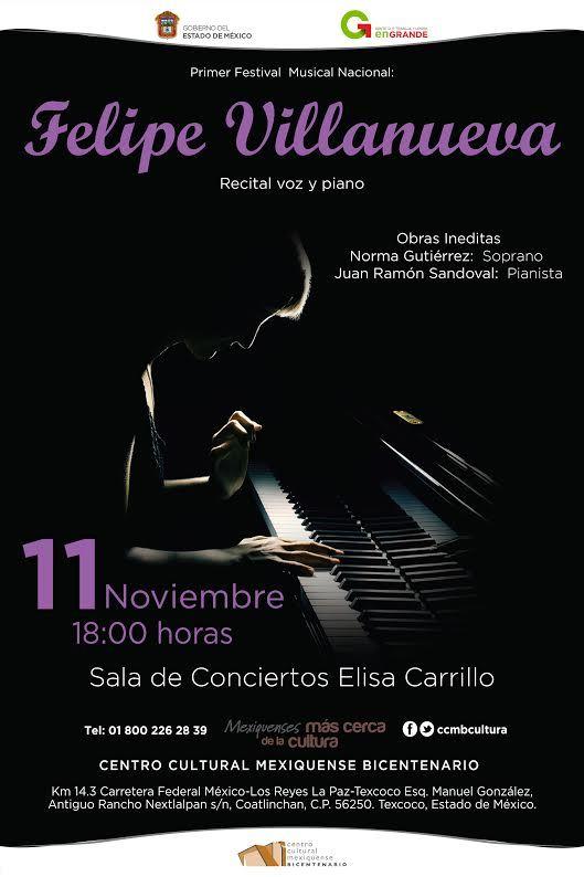 Será CCMB Texcoco sede del primer Festival Musical Nacional Felipe Villanueva