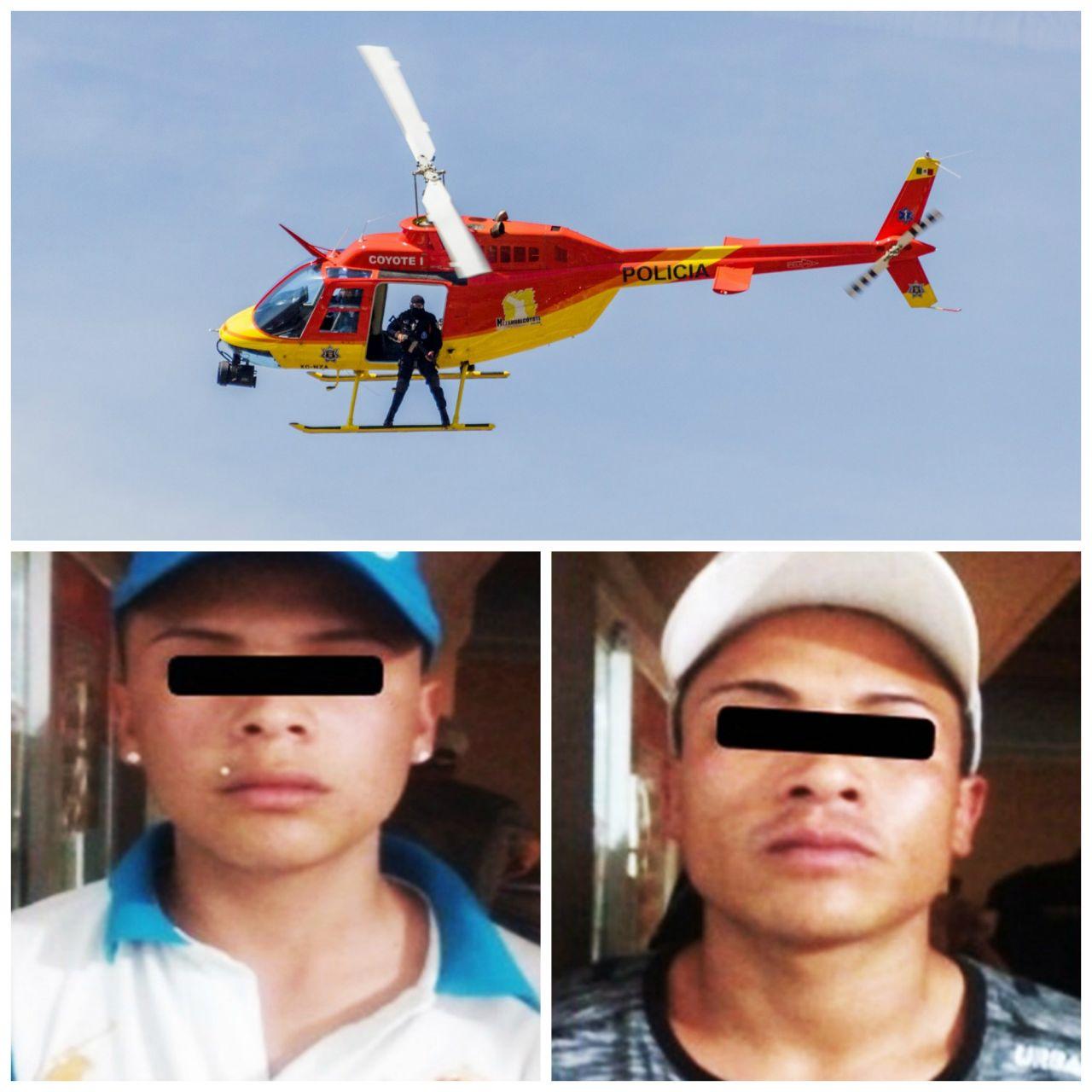 Con intervención del helicóptero policía municipal de Nezahualcóyotl detienen a dos  presuntos  delincuentes por robo a vehículo