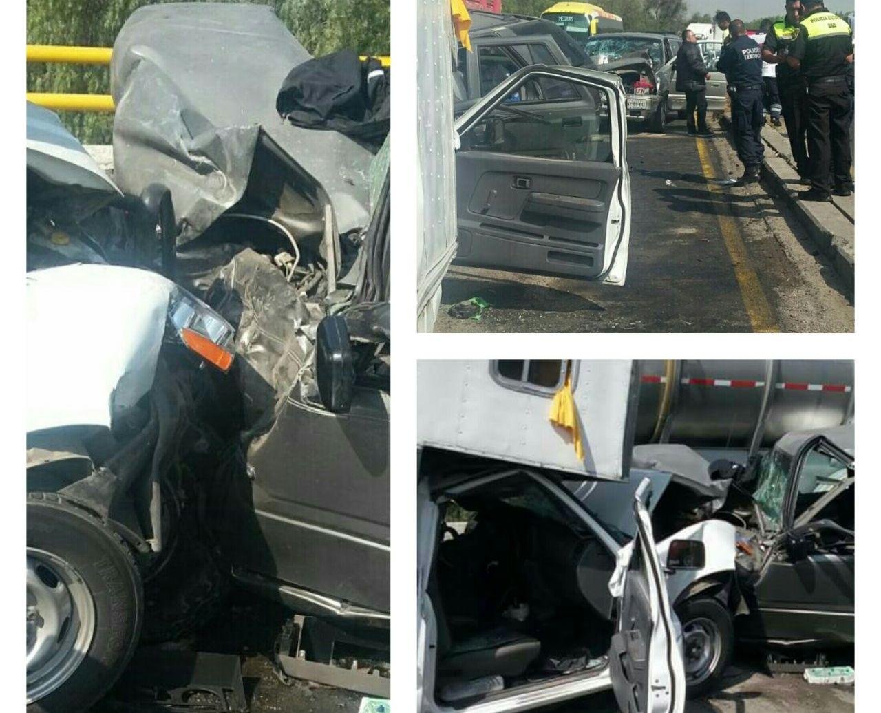 Carambola deja siete lesionados en puente de San Bernardino, Texcoco