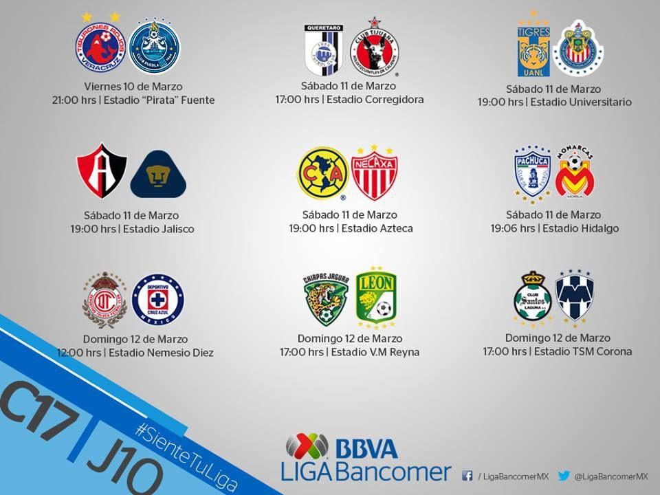 Confirman fechas para juegos de la J10 de la Liga MX