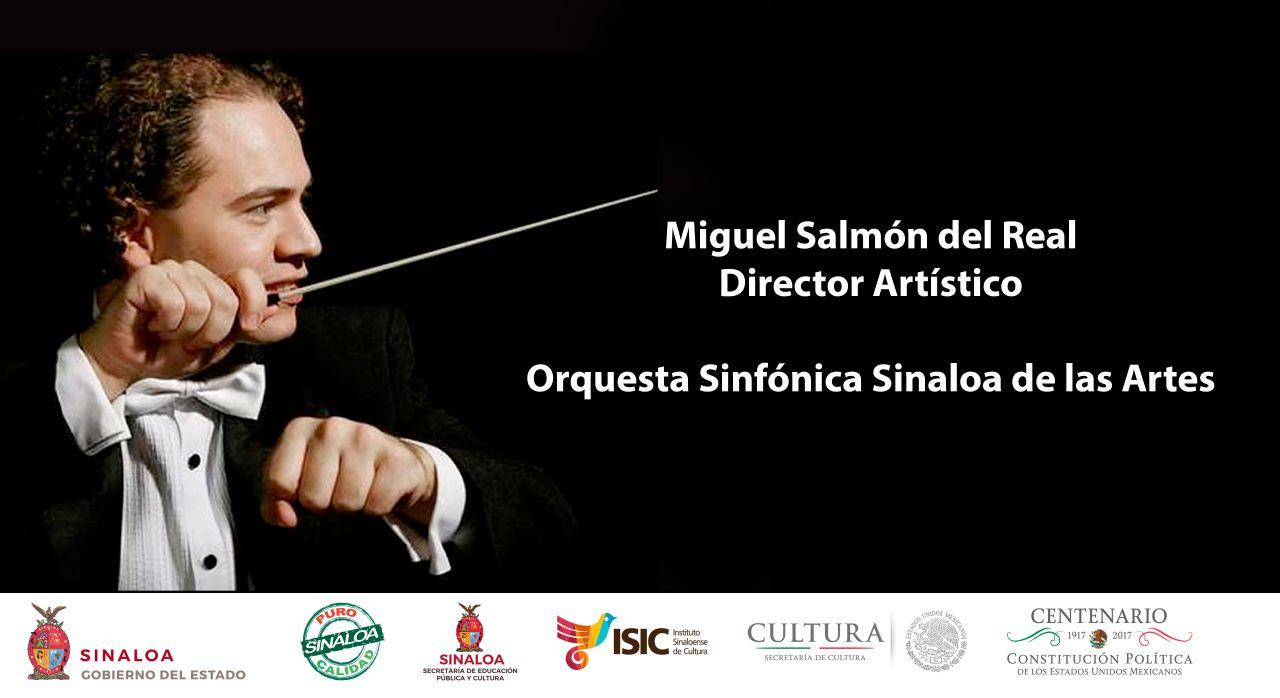 Papik Ramírez Bernal, director general del ISIC, anuncia en conferencia de prensa al nuevo director de la Orquesta Sinfónica Sinaloa de las Artes.