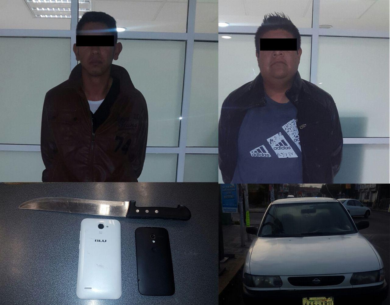 Capturan a dos asaltantes en vehículo robado en Chimalhuacán