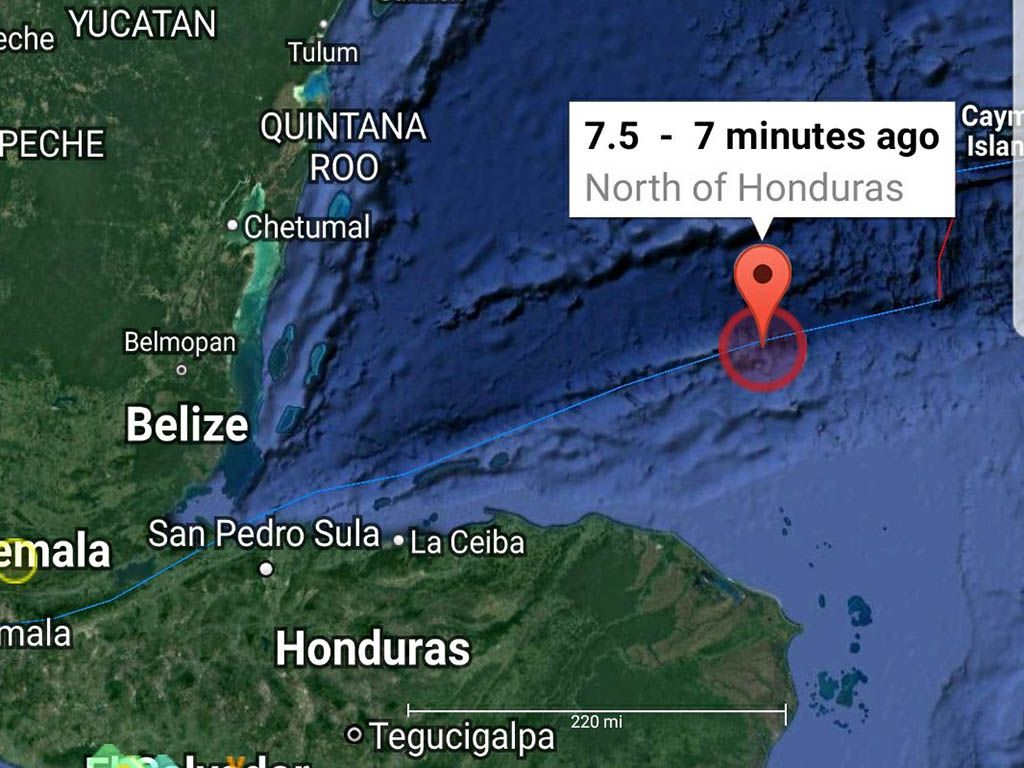 Sismo de entre 7.5 y 78 grados sacude el norte de Honduras